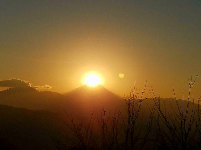 Mt. Fuji with sun